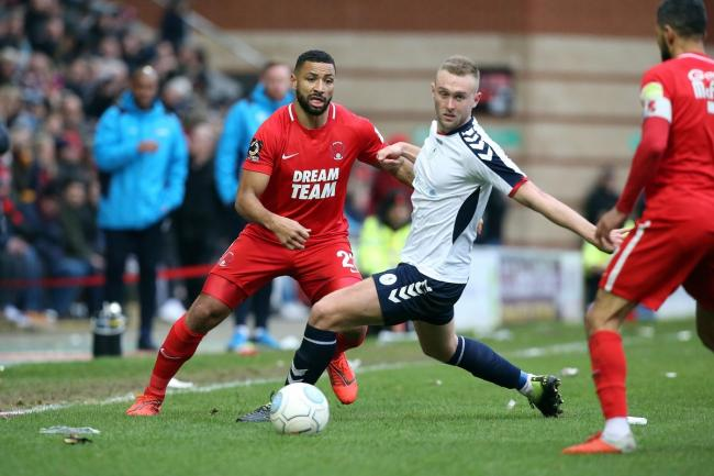 Jamie Turley plays the ball during Leyton Orient's FA Trophy semi-final first leg against AFC Telford United. Picture: Simon O'Connor