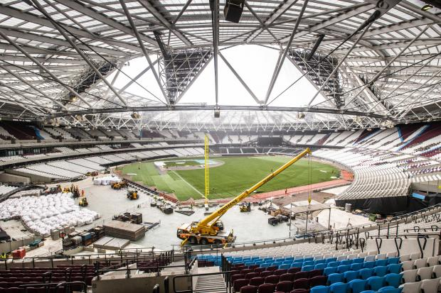 London Stadium undergoing ints transformation for the Major League Baseball match between Boston Red Sox and New York Yankees. Picture: James Robinson