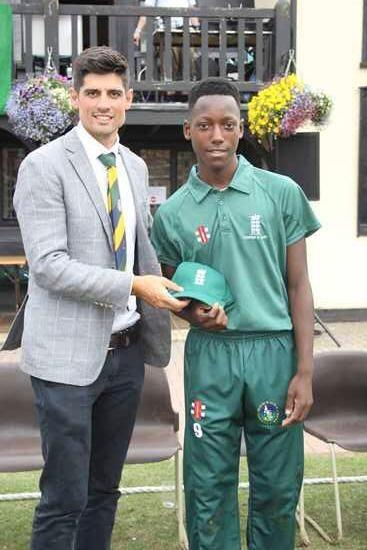 Jamal with former England captain Alastair Cook at the Banbury Festival. Photo: UGC
