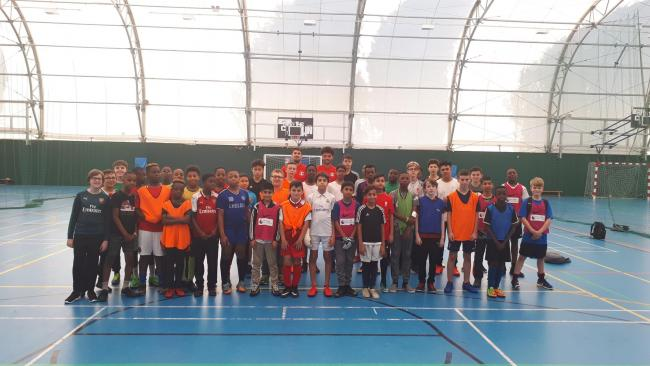 Leyton Orient signings Conor Wilkinson and Lee Angol with young people at the Leyton Orient Trust Football Camp last Wednesday