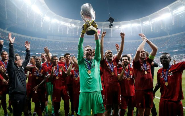 Adrian celebrates Liverpool's Super Cup triumph. Picture: Action Images