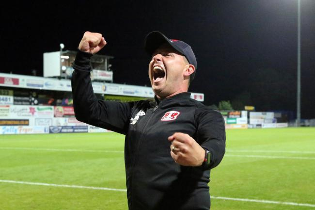 Ross Embleton celebrate's after Leyton Orient's dramatic League Two win against Mansfield Town. Picture: Simon O'Connor