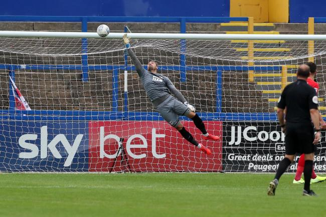 Dean Brill makes a save during Leyton Orient's League Two match against Macclesfield Town. Picture: Simon O'Connor