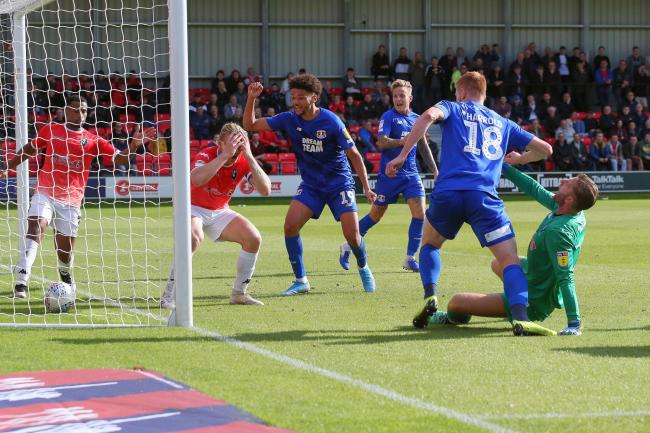 Salford City goalkeeper Chris Neal puts into his own net to gift a late point to Leyton Orient. Picture: Simon O'Connor