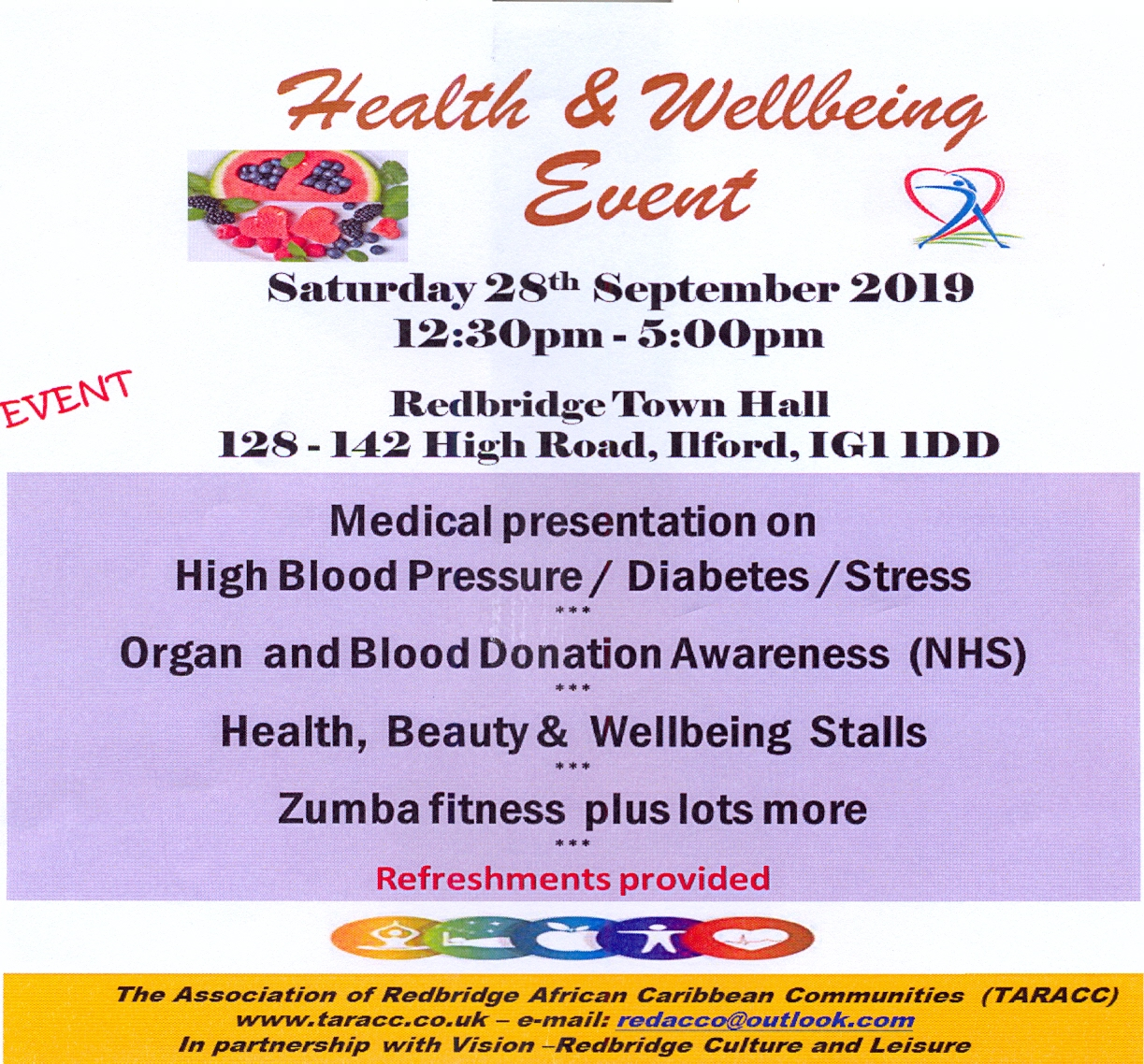 The Association of Redbridge African Caribbean Communities  Health & Wellbeing Event