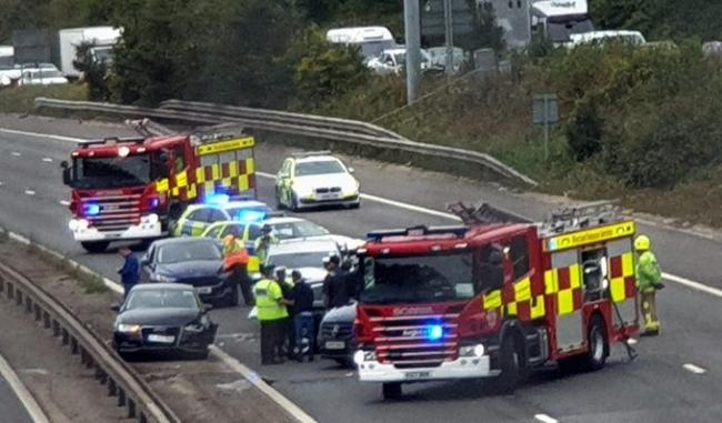 All emergency services are currently at J11 by Hastingwood and Harlow on the M11 - Credit: Anonymous