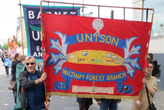 Dave Knight in a London May Day march. Photo: NUJ Waltham Forest