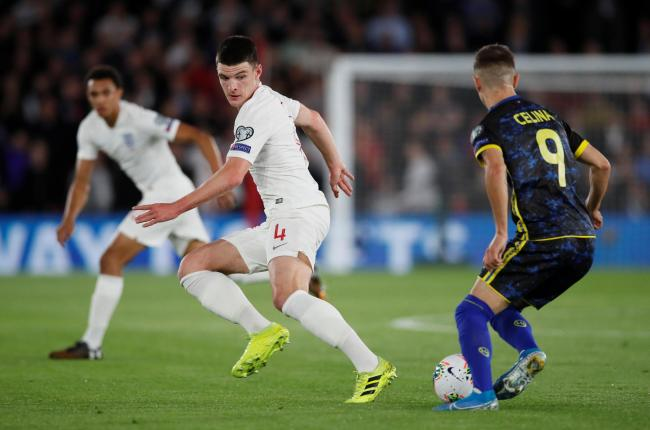 Declan Rice in action with Kosovo's Bersant Celina. Picture: Action Images