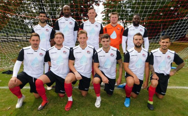 Epping Town FC sporting their new shirts displaying Wipe Away Tears' logo