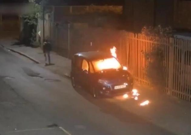 The blue Citroen car was set on fire in Ilford on Thursday, May 23