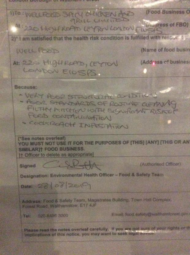 East London and West Essex Guardian Series: The notice issued at the restaurant after cockroaches were found. Credit: UGC