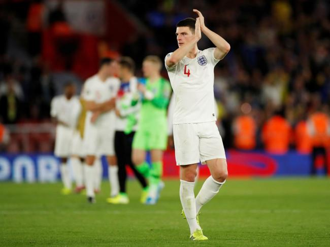 Declan Rice applauds the fans after England's win against Kosovo. Picture: Action Images