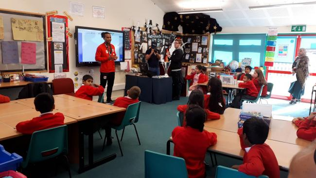 Leyton Orient defender Joe Widdowson visited visited Fullwood Primary School on National Poetry Day