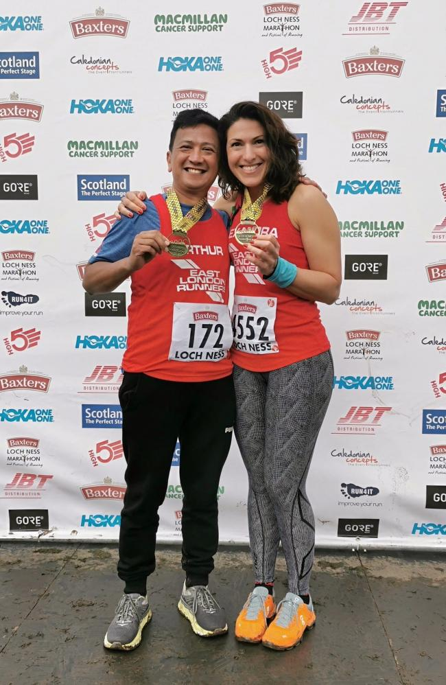 Arthur Diaz and Alexandra Rutishauser-Perera following the Loch Ness Marathon.