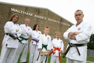 Rod Butler with his karate group outside the sports centre