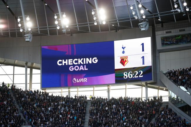 The big screen at Spurs before the 'no goal' graphic appeared. Picture: Action Images