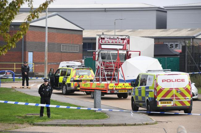 Police activity at the Waterglade Industrial Park in Grays, Essex, after 39 bodies were found inside a lorry container on the industrial estate. Photo: Stefan Rousseau/PA Wire.