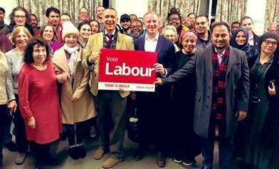 Shadow Minister Clive Lewis and Ilford South's Labour PPC Sam Tarry with campaigners.