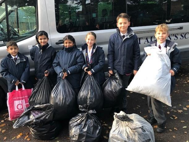 St Aubyn's pupils with thei coats they collected for Wrap Up London.