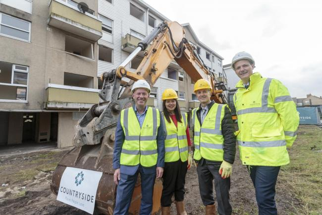 Council representatives visit Marlowe Road site to celebrate completion of demolition work.