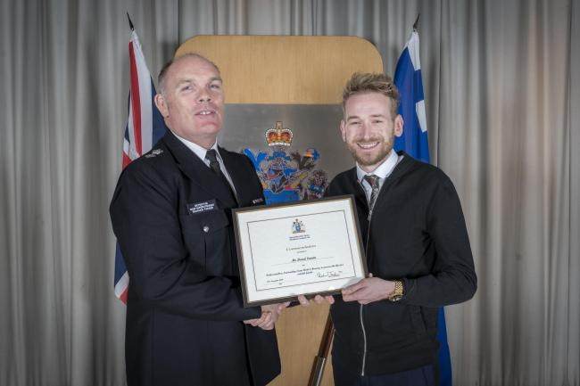Dave Larvin was presented with the Metropolitan Police's Commendation Award for Professionalism, Outstanding Teamwork and Bravery for the heroic act.