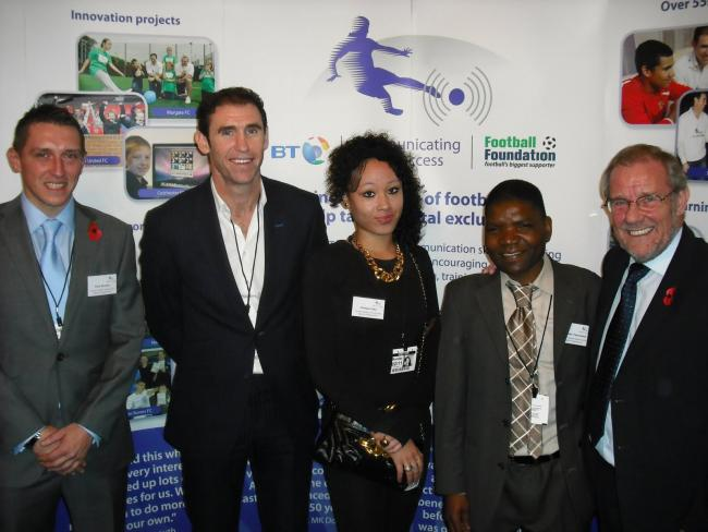 L - R, Tony Murphy, Martin Keown, Chelsea Ives, Crimson Tazvinzwa and Richard Caborn
