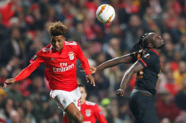Gedson Fernandes, left, in Europa League action for Benfica. Picture: Action Images
