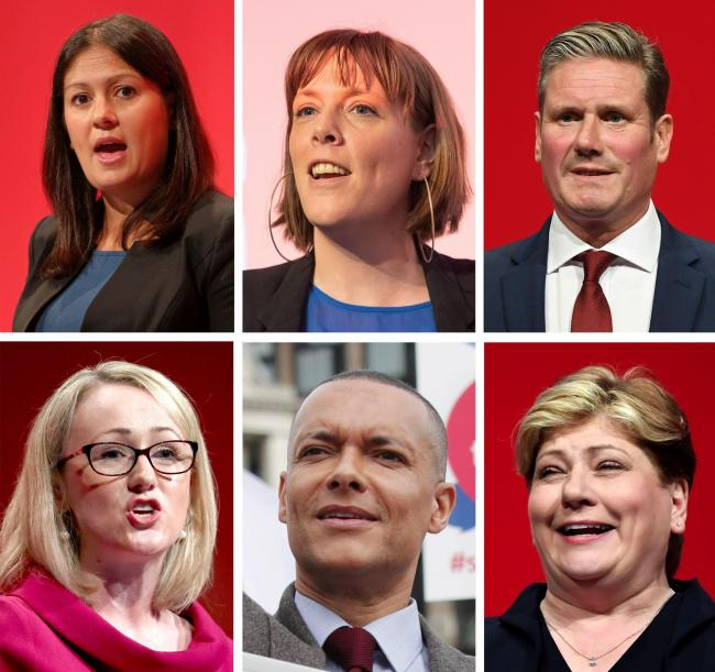 (top, left to right) Lisa Nandy, Jess Phillips, Keir Starmer, (bottom, left to right) Rebecca Long-Bailey, Clive Lewis and Emily Thornbury. Photo: PA/PA Wire