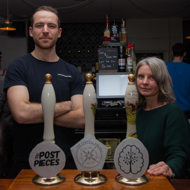 Compass Project founder David Pauling with landlady at The Queen's Arms, Walthamstow, Maria.