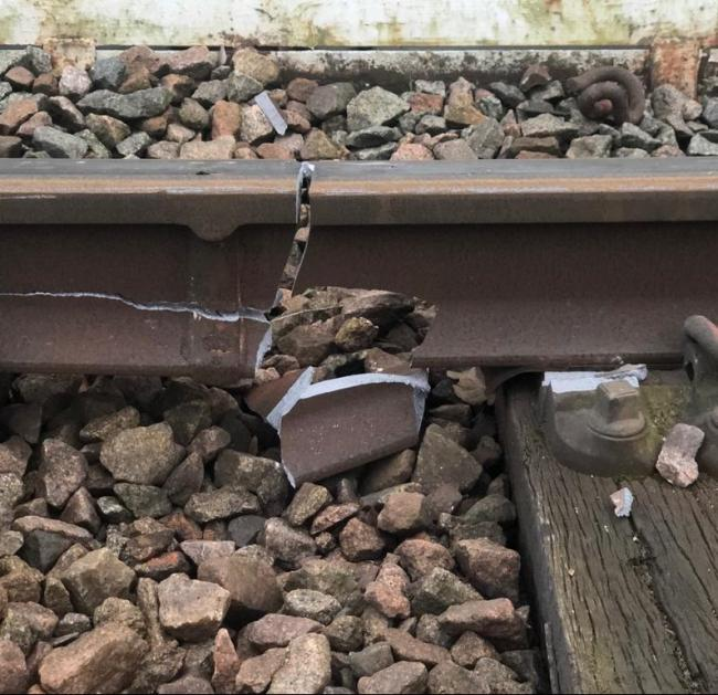 Damage caused by a derailed freight train on the Gospel Oak to Barking line. Photo: Network Rail