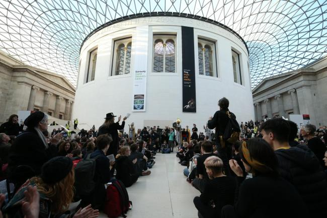 Greenpeace protesters inside the British Museum