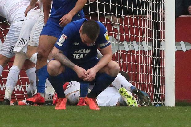 Josh Coulson after Leyton Orient concede late on against Cheltenham Town. Picture: Simon O'Connor