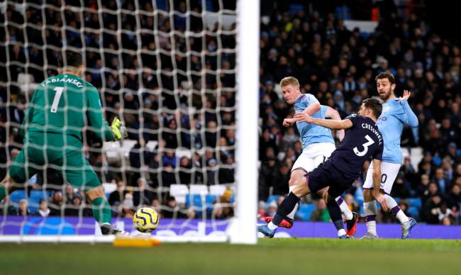Kevin De Bruyne slots in City's second goal. Picture: Action Images