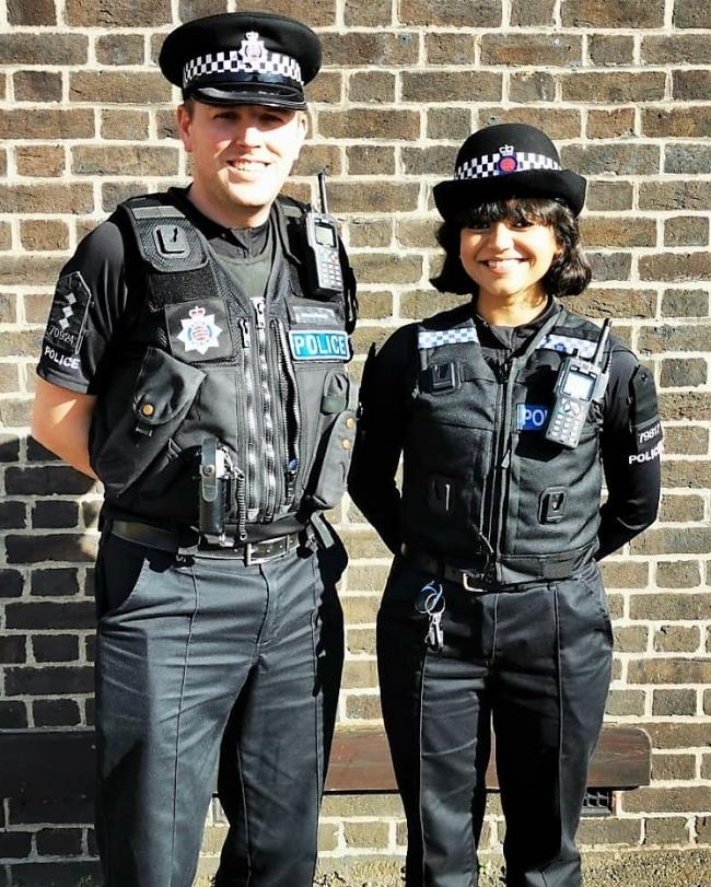 PC Anokhi Chouhan of of Loughton's Community Policing Team (right) with Chief Inspector Lewis Basford, District Commander for Brentwood and Epping Forest (left)