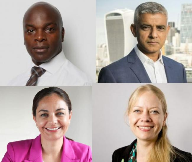 Clockwise from top left: Shaun Bailey, Sadiq Khan, Sian Berry and Siobhan Benita (Photos: GLA and John Russell)