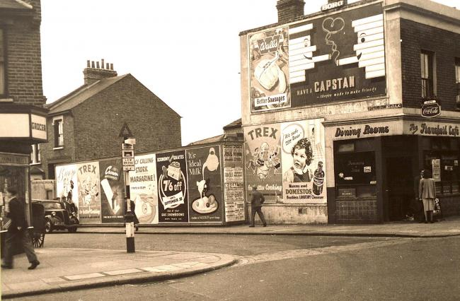 Then and Now: The corner of High Road and Beaumont Road, Leyton, in 1956. (Image courtesy of Vestry House Museum picture archive.)