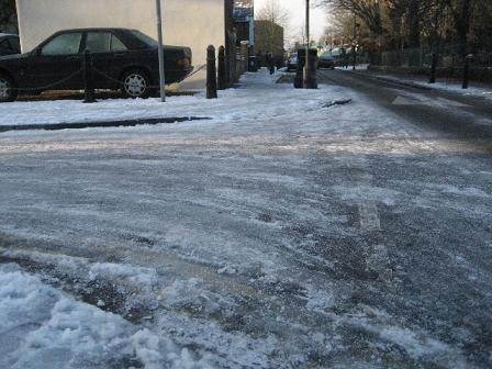 Bishop's Close in Walthamstow was still icy on Wednesday
