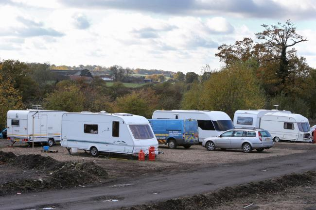 Travellers camped in Chigwell