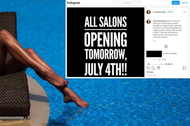 Sun City Tanning salons have reopened despite government guidance not stating they are allowed to do so. Photos: Flickr (impliedphotography), Instagram