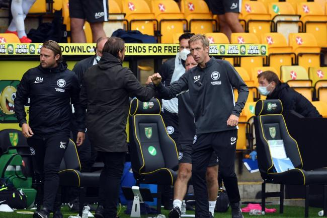 Graham Potter, right, has backed Norwich head coach Daniel Farke to bounce back from a difficult season in the Premier League