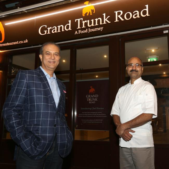 Rajesh Suri and Dayashankar Sharma (Head Chef) outside Grand Trunk Road in High Road, South Woodford.
