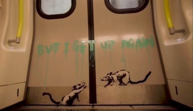 'I get locked down but I get up again' - Banksy's positive message to London. Credit: Banksy