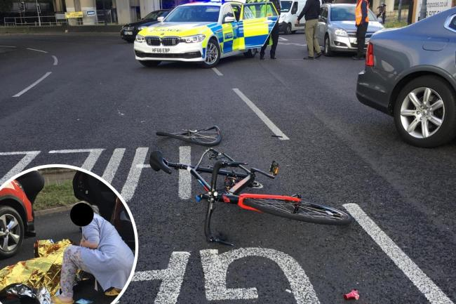 A woman has recounted the 'awful' experience of a crash between a cyclist and driver on the Charlie Brown's Roundabout. Photos: Theresa O'Sullivan
