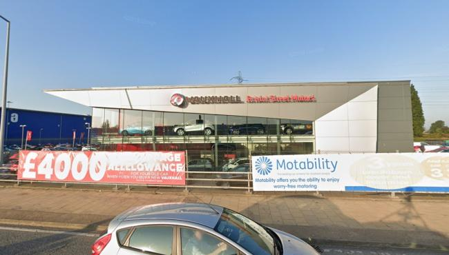 The Vauxhall Motors dealership located just off the North Circular