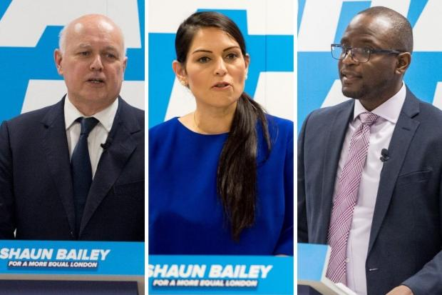 East London and West Essex Guardian Series: Iain Duncan Smith (left), Priti Patel (centre) and Duwayne Brooks were at the CSJ event to support Mr Bailey (Photos: Shaun Bailey / Twitter)