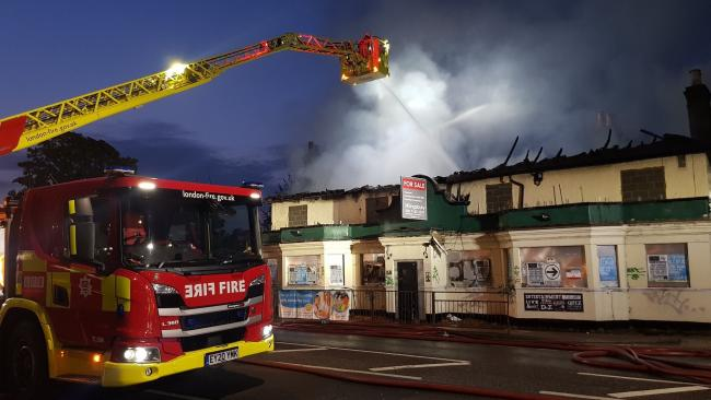 The vanvant pub in Chadwell Heath High Road was destroyed by the fire. Photo: London Fire Brigade.