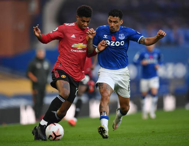 Marcus Rashford in action against Everton. Photo: Action Images