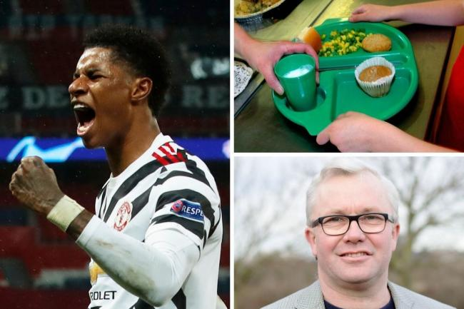 Marcus Rashford won a U-turn from the Government over free school meals during the Christmas holidays, but Paul Donovan says too many families are living in poverty. Photos: PA, UGC