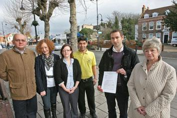 L-R,  Paul Canal, Jacueline Smith, Colleen Smith, Aden Ayhan, Ed Northover and Cllr Sue Nolan, with their compensation letter.