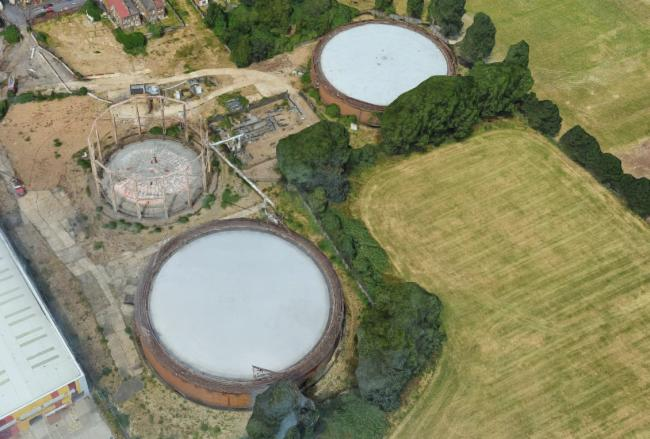 An aerial view of the Lea Bridge Gasworks (Google Earth)